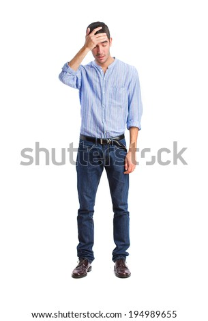 young sad man - stock photo