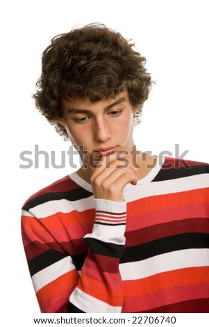 young sad teenager man isolated on white - stock photo