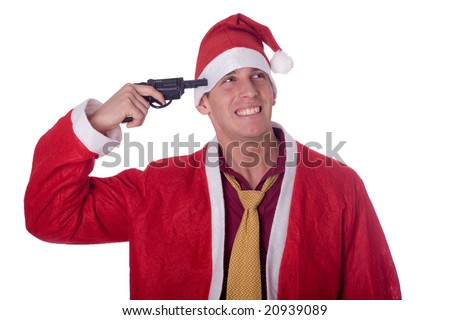 Young santa claus with gun - stock photo