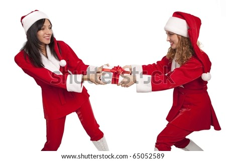 Young  Santas take from  each other a gift box isolated on white