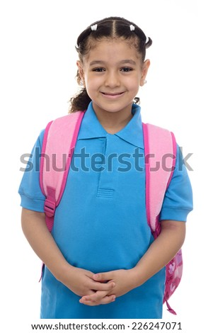 Young School Girl with Backpack Isolated on White Background - stock photo