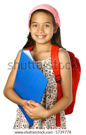 Young school girl with blue folder and red rucksack, ready to attend school. - stock photo