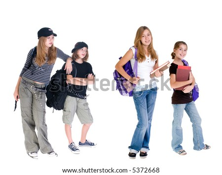Young school girls with and without the attitude. What path are you choosing? - stock photo