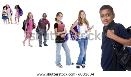Young school kids ready for school. Diversity, education, learning. - stock photo
