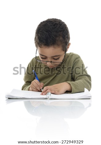 Young Schoolboy Studying with Concentration Isolated on White Background - stock photo