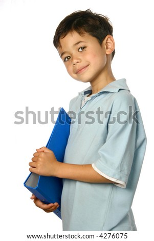 Young schoolboy with blue folder, isolated on white. - stock photo