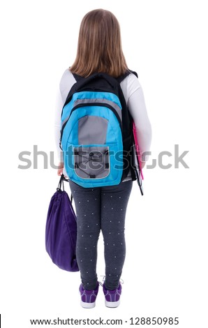 Young schoolgirl from behind - stock photo