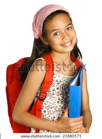 Young schoolgirl of mix ethnicity holding a blue folder and files with pens and markers, isolated. - stock photo