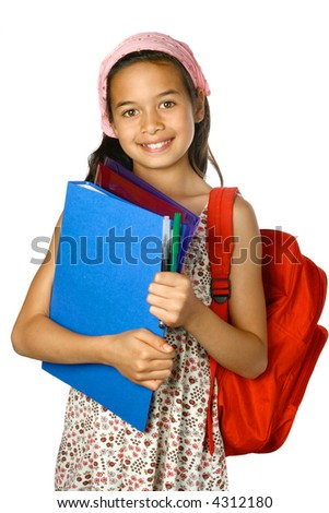 Young schoolgirl of mix ethnicity with red rucksack, folders and note files with  pens and markers, ready for school, isolated. - stock photo