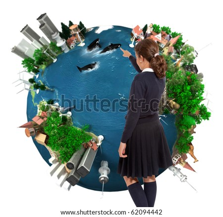 Young schoolgirl pointing to a world map ecology oriented - stock photo