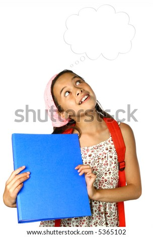 Young schoolgirl with blue folder and red rucksack looking up at thoughts bubble. - stock photo