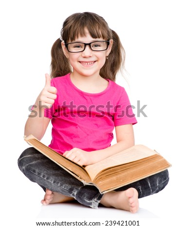 young schoolgirl with book showing thumbs up. isolated on white background - stock photo