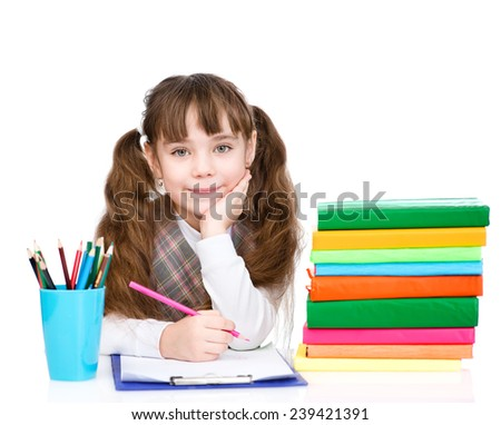 young schoolgirl write exam. isolated on white background