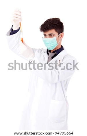 Young scientist at lab - selective focus on tube
