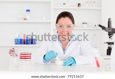 Young scientist preparing an experimentation looking at the camera - stock photo