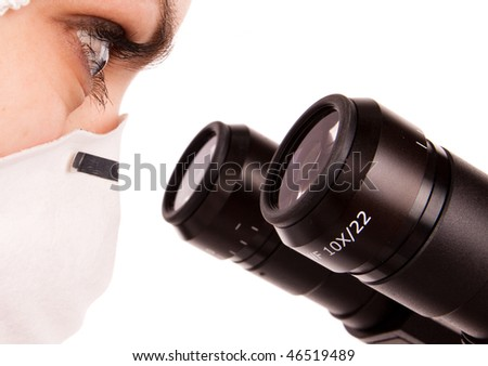 young scientist with professional microscope on white isolated - stock photo