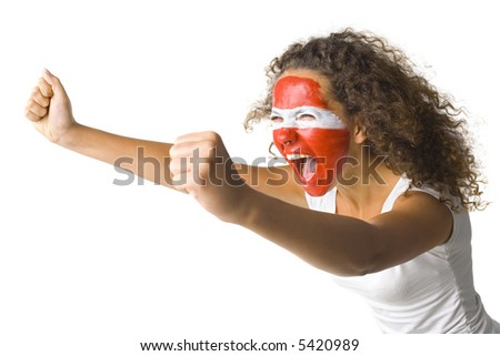 Young screaming Austrian fan with painted flag on face. White background, side view - stock photo