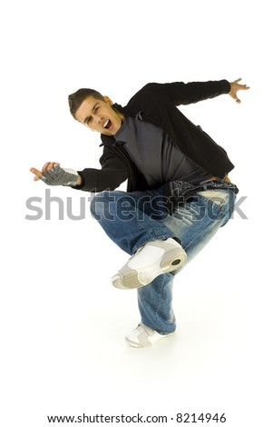 Young, screaming bboy standing on one leg. Looking at camera and pointing at something. Isolated on white in studio. Front view, whole body - stock photo