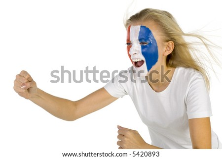 Young screaming french fan with painted flag on face. White background, side view - stock photo