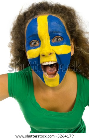 Young screaming Swedish fan with painted flag on faces. She's on white background. Closeup on face. - stock photo