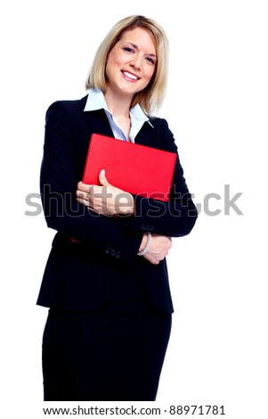 Young secretary business woman with folder. Isolated over white background.