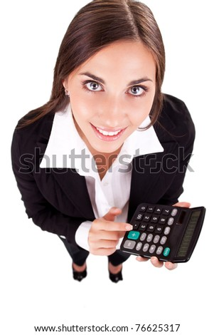 young secretary,  businesswoman with calculator, isolated on white, top view - stock photo