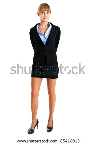 Young secretary full length wearing a mini skirt - stock photo