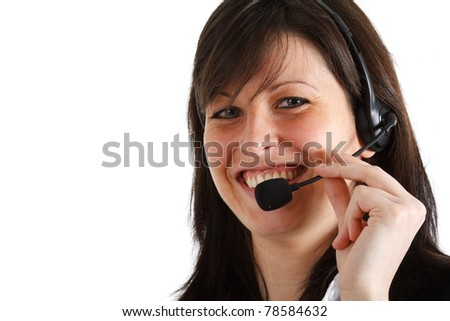 Young secretary smiling while helping a customer. Isolated on white. - stock photo