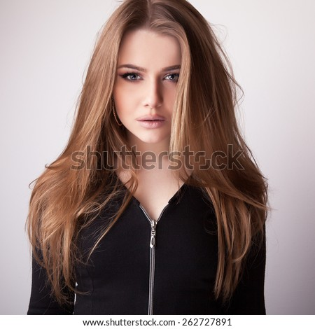 Young sensual & beauty model girl pose in studio. - stock photo
