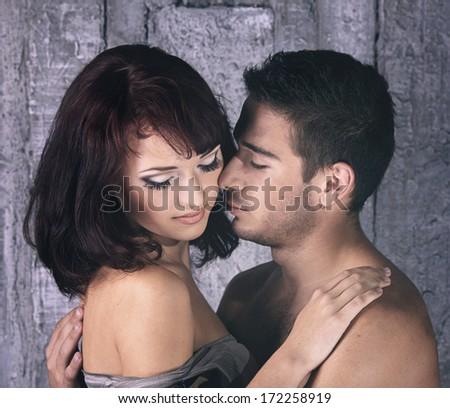 young sensual couple - stock photo