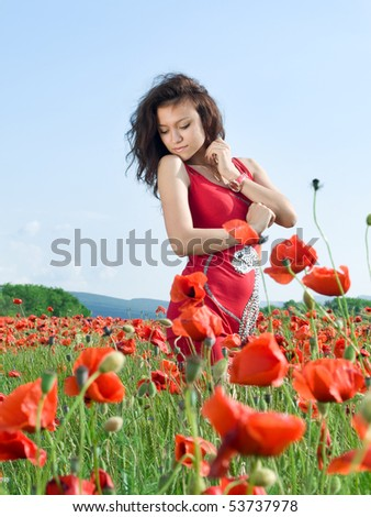 young sensual girl in poppies field - stock photo