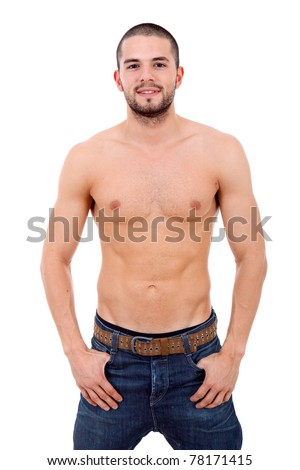 young sensual man on a white background - stock photo