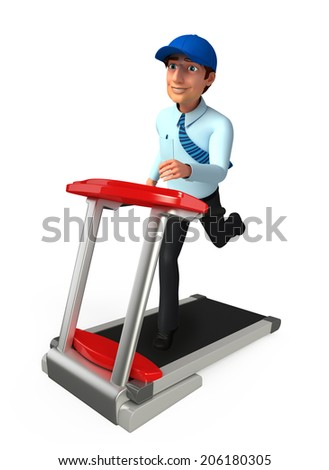 Young service man with walking machine - stock photo