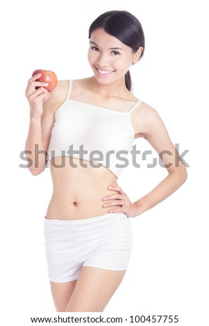 Young sexy asian woman body and hand holding red apple isolated on white background