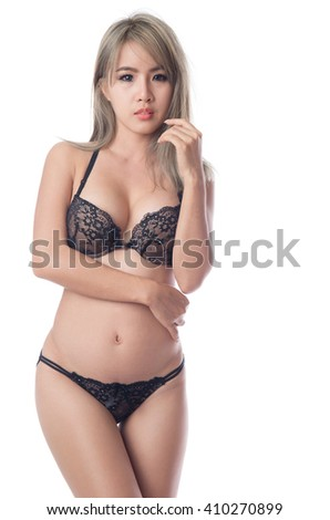Young sexy asian woman in underwear, isolated on white background - stock photo