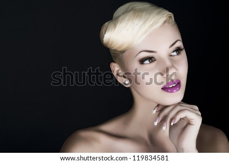 young sexy beautyful blonde woman portrait in studio. makeup - stock photo