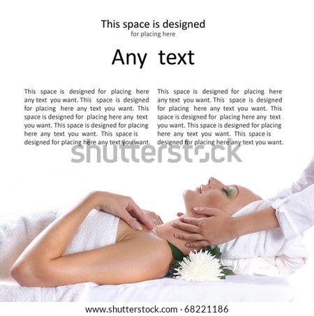 Young sexy blond getting spa treatment isolated on white - stock photo