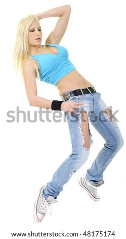 young sexy blond woman in casual outfit isolated on white dance exercise fitness