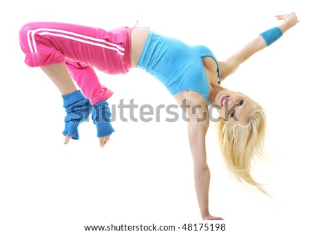 young sexy blond woman isolated on white dance hip hop exercise fitness - stock photo