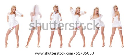 Young sexy bride in vulgar pose isolated on white - stock photo