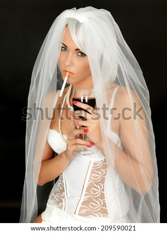 Young Sexy Bride Pin Up In Lingeire Smoking and Drinking - stock photo