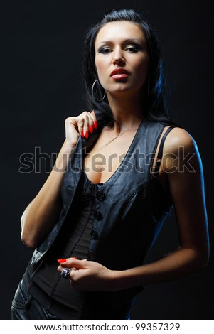 Young sexy brunette woman - stock photo