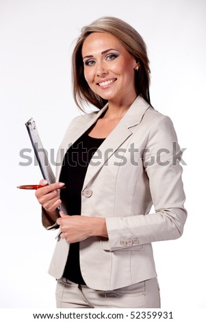 Young sexy business woman, over white background - stock photo