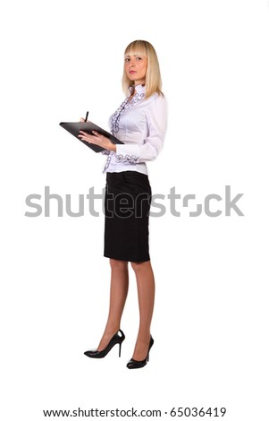 Young sexy business woman, over white background