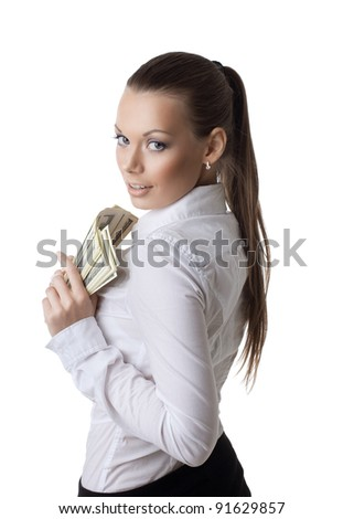young sexy business woman take a bundle of dollars - stock photo