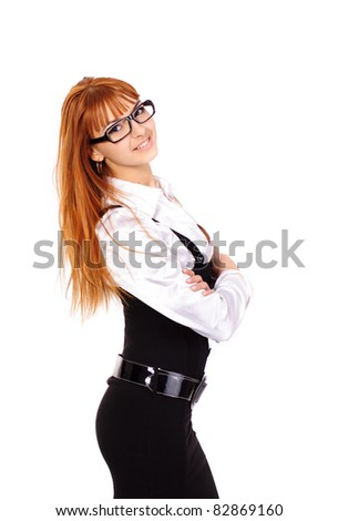 young sexy business woman with red hair with black glasses isolated on white