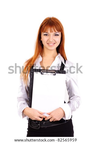young sexy business woman with red hair with folder and sheet of paper staying over white