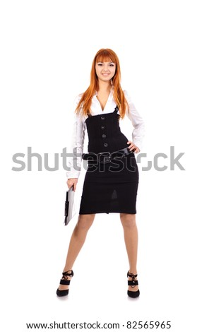 young sexy business woman with red hair with folder staying over white