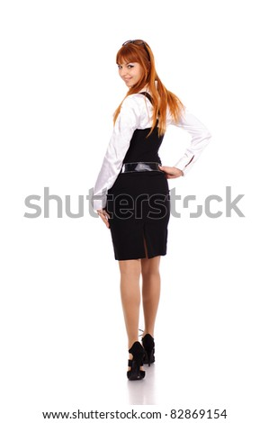 young sexy business woman with red hairs, isolated on white