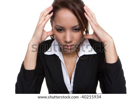 young sexy businesswoman having a  headache - stock photo